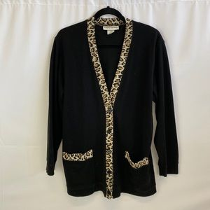 Vintage leopard print from button front cardigan M